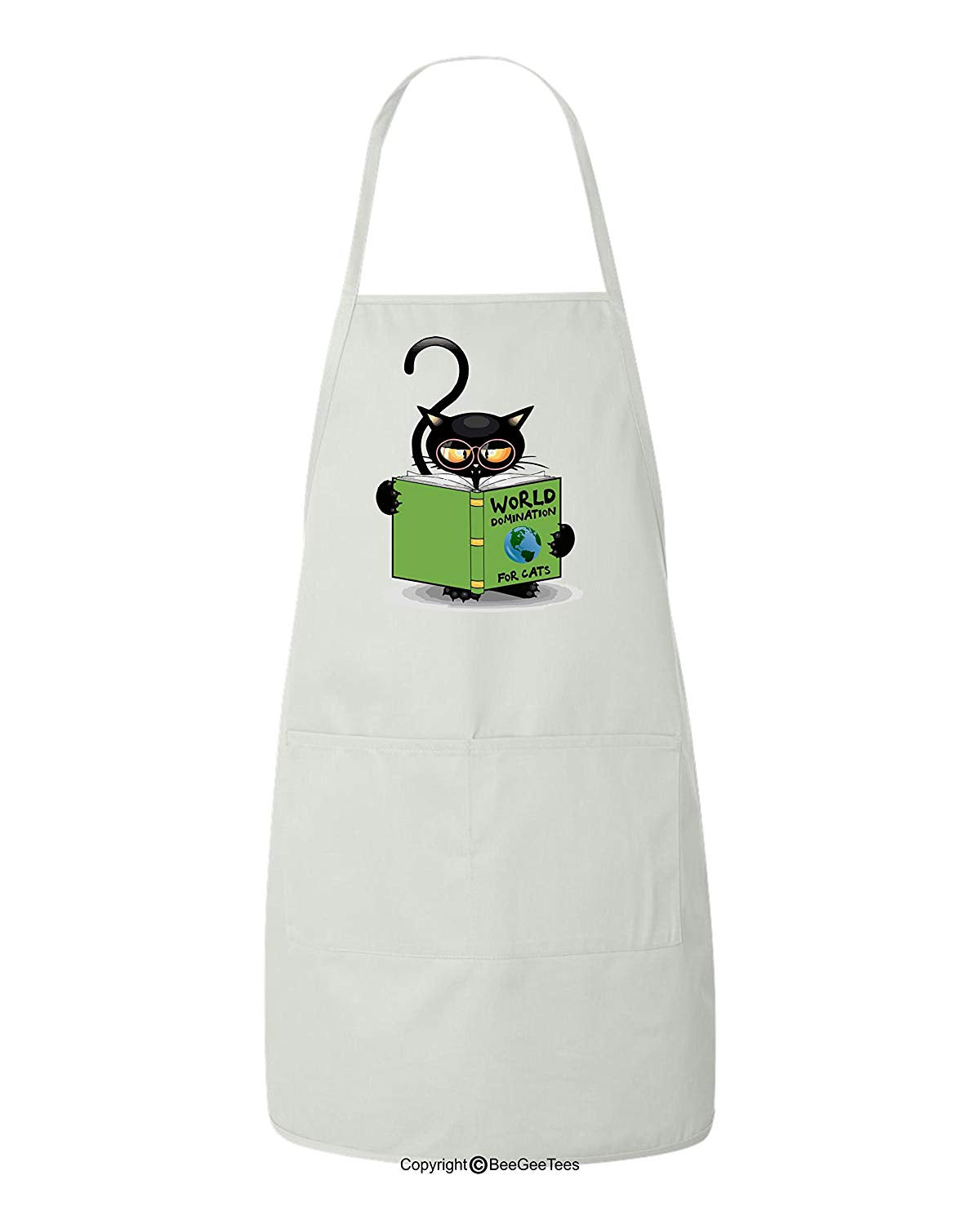 World Domination For Cats Funny Cat Lover BBQ Apron by BeeGeeTees for Grandma's Kitty Rescue