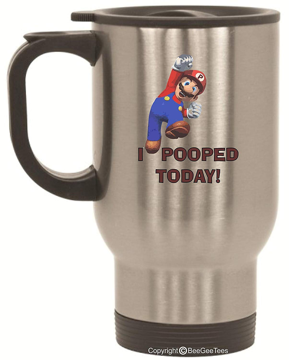 BeeGeeTees I Pooped Today Super Hero Mario Inspired Funny Stainless Steel Travel Mug (14 oz)