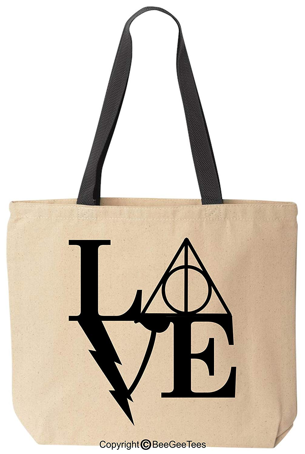 Love Always Canvas Wizard Witch Harry Potter Inspired Tote Reusable Gift Bag by BeeGeeTees