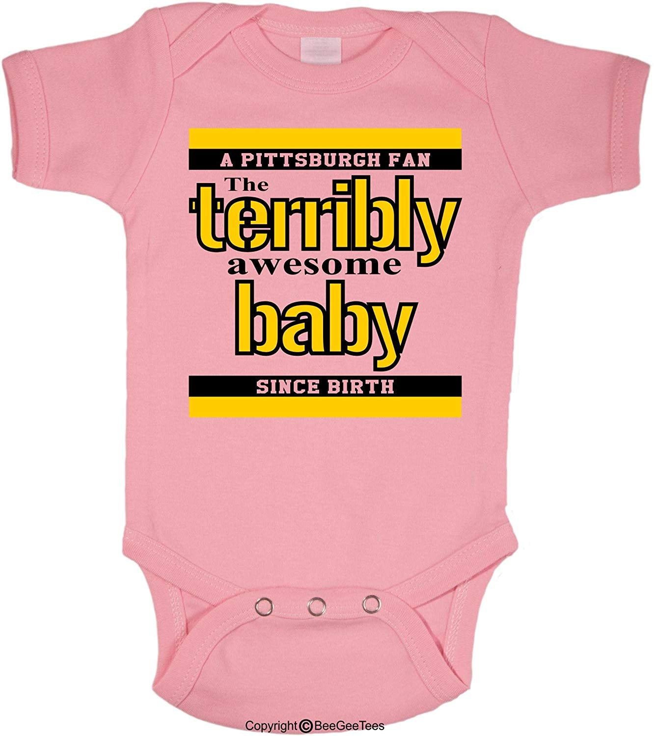 BeeGeeTees Pittsburgh Terribly Awesome Baby Funny Parody Steeler Onesie