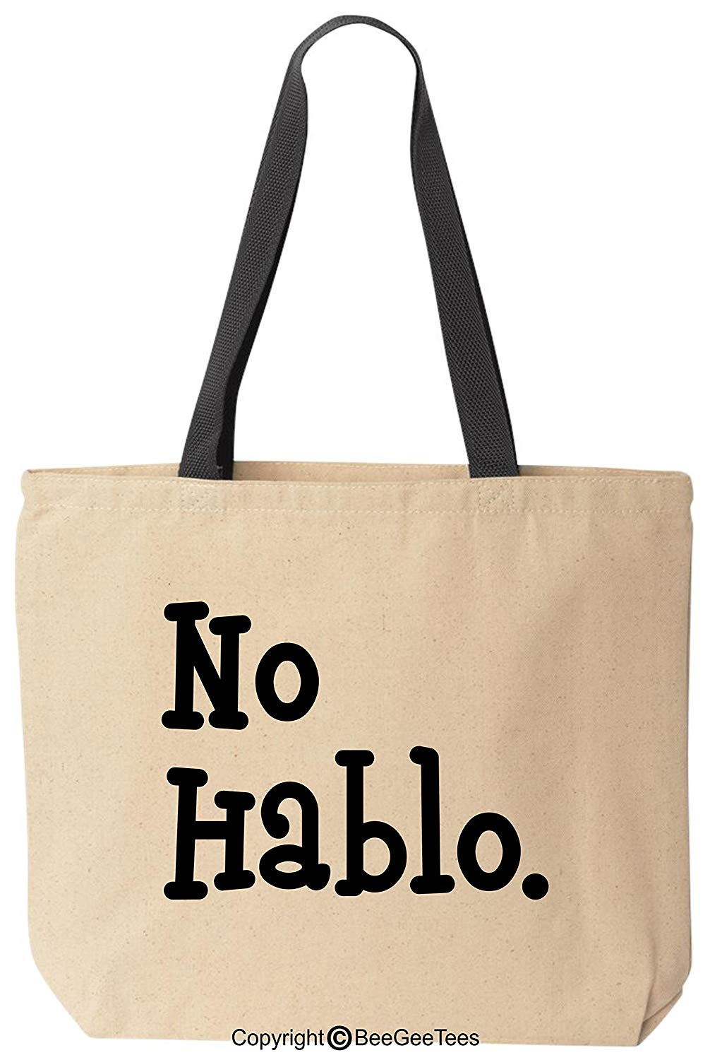 No Hablo Funny Canvas Hipster Shower Gift Tote I Don't Speak Bag by BeeGeeTees