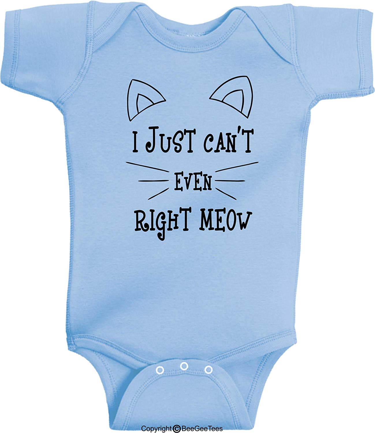 I Just Can't Even Right Meow Funny Cat Baby Bodysuit Hipster Gift by BeeGeeTees