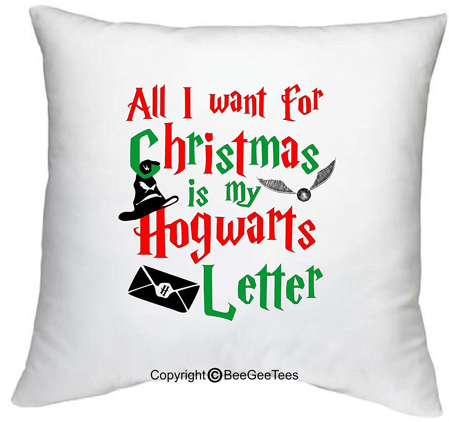 "All I Want For Christmas Is My Hogwarts Letter Funny 18"" x 18"" Zippered Wizard Pillow Cover by BeeGeeTees"