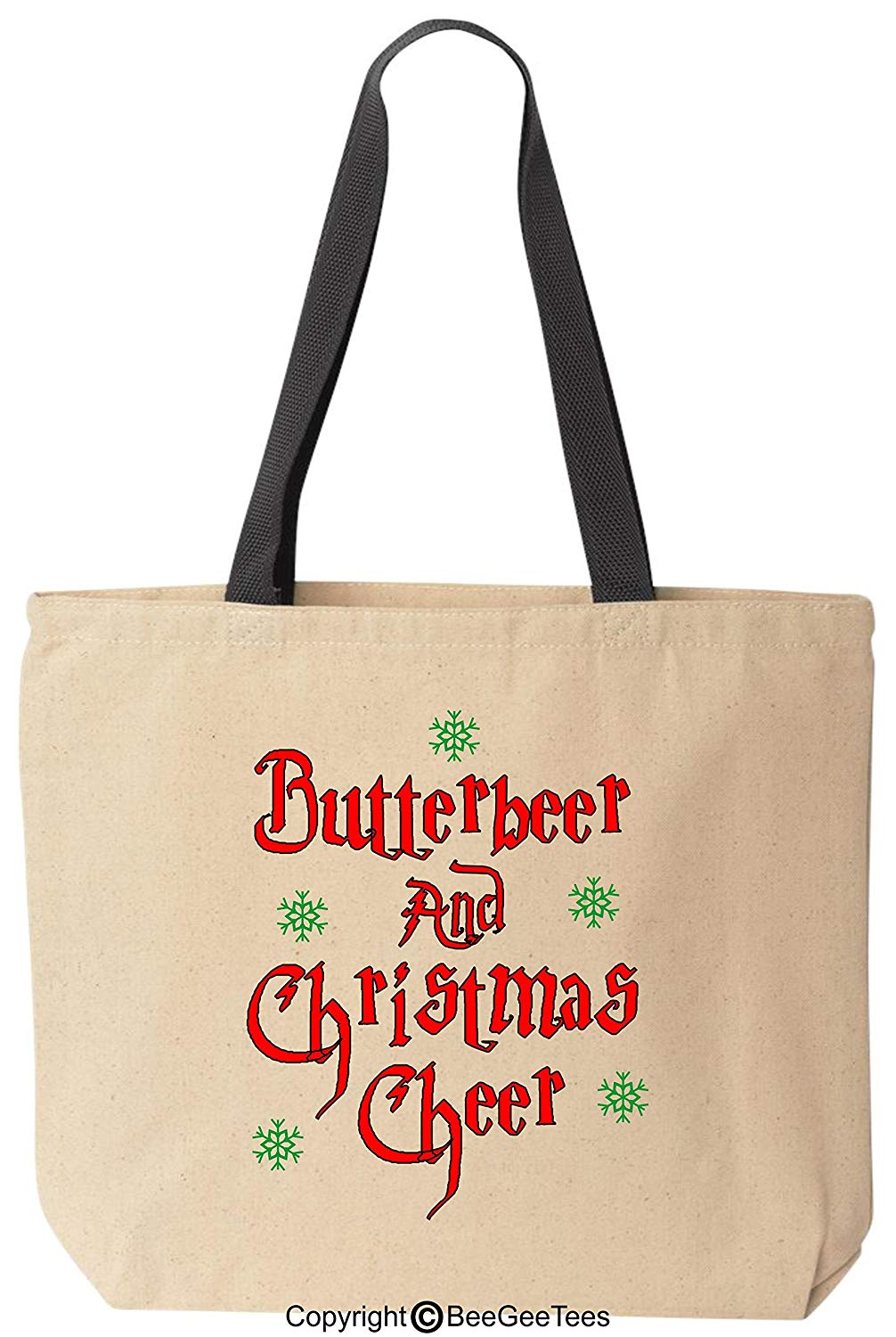 Butterbeer Christmas Cheer Funny Harry Potter Inspired Canvas Tote Bag Hogwarts Wizard by BeeGeeTees