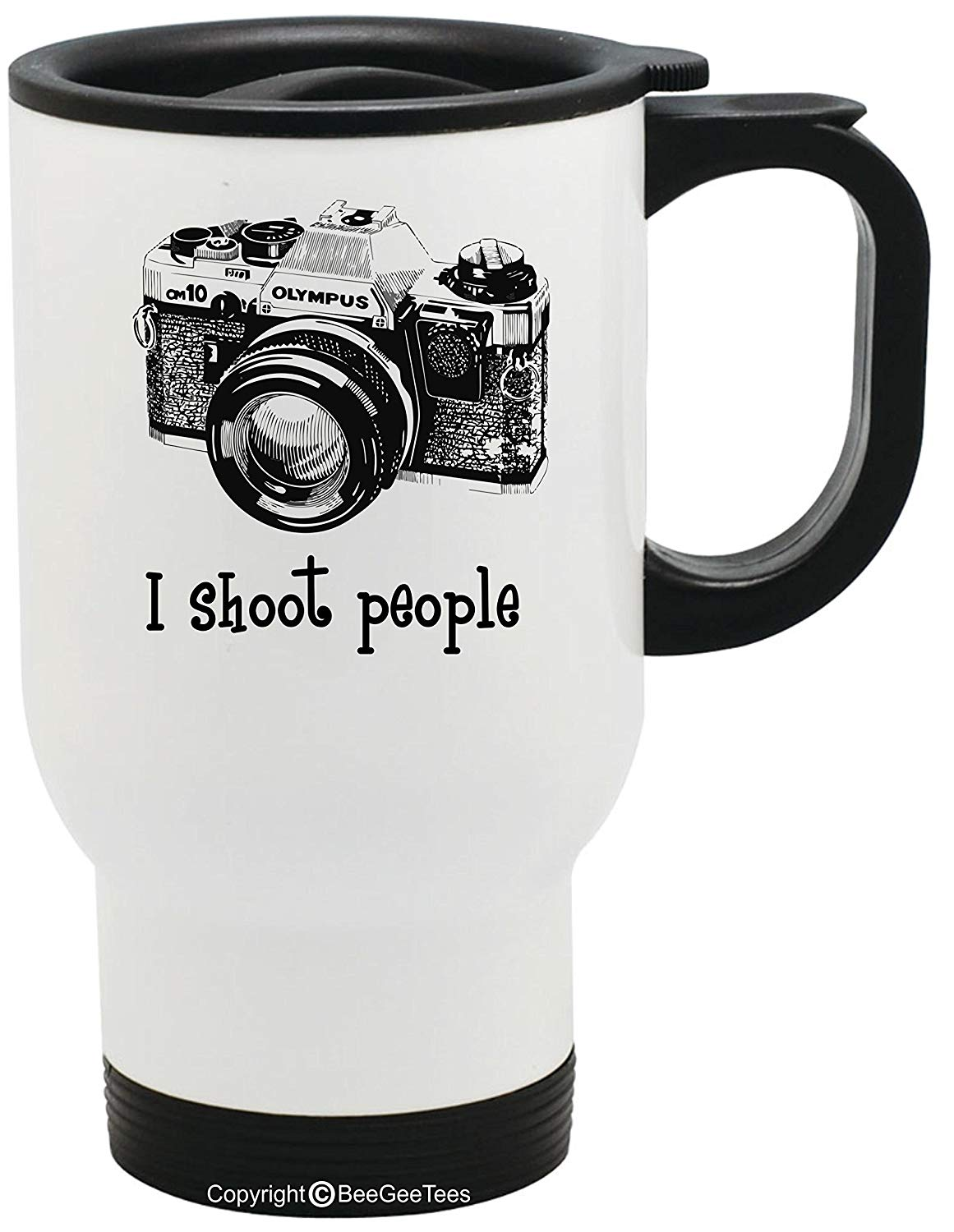 I shoot people Olympus Camera Photography Funny Stainless Steel Photographer Travel Mug by BeeGeeTees (14 oz)