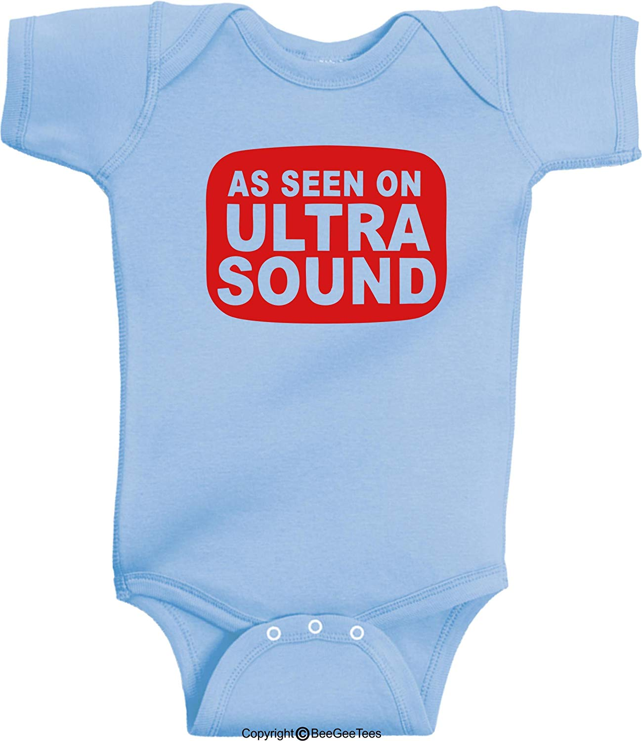 As Seen On Ultrasound Funny Baby Bodysuit Hipster Gift As Seen On TV by BeeGeeTees