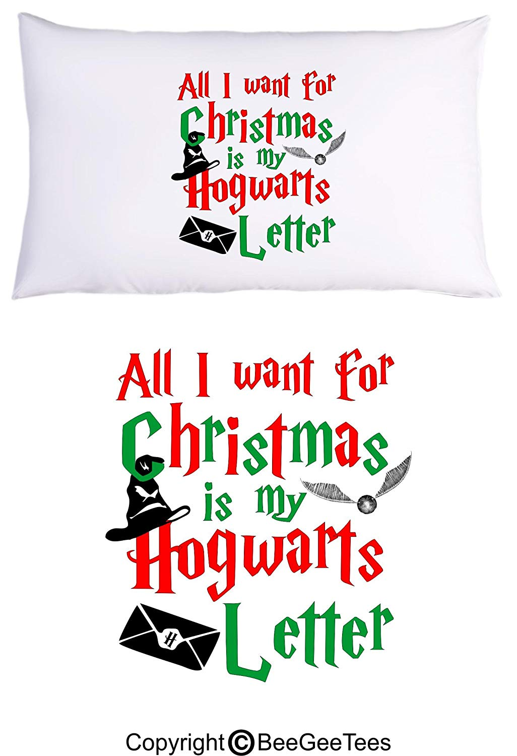 All I Want For Christmas Is My Hogwarts Letter Funny Wizard Pillowcase by BeeGeeTees (1 Queen Pillowcase)