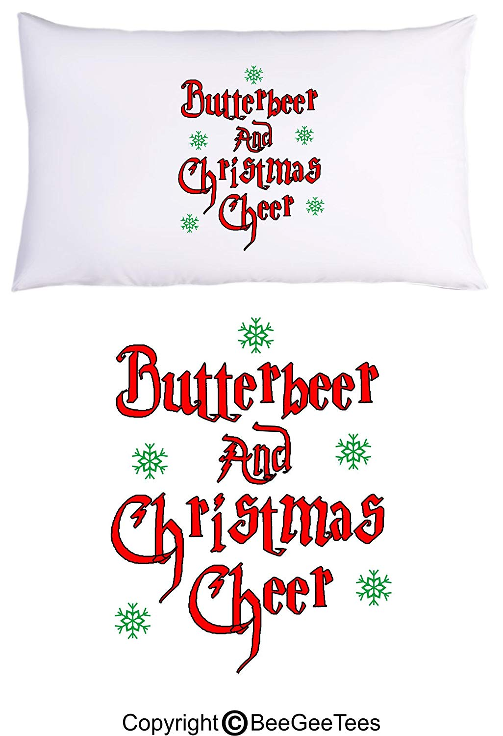 Butterbeer Christmas Cheer Funny Harry Potter Inspired Hogwarts Wizard Pillowcase by BeeGeeTees (1 Queen Pillowcase)