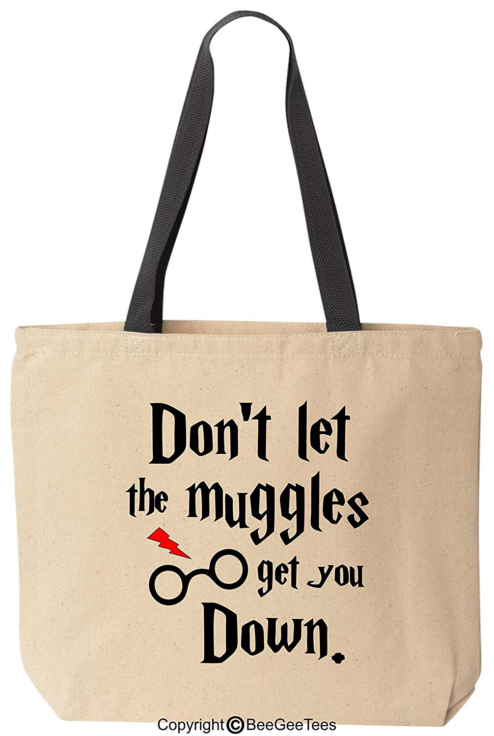 Don't Let The Muggles Get You Down Funny Harry Potter Inspired Canvas Tote Bag by BeeGeeTees