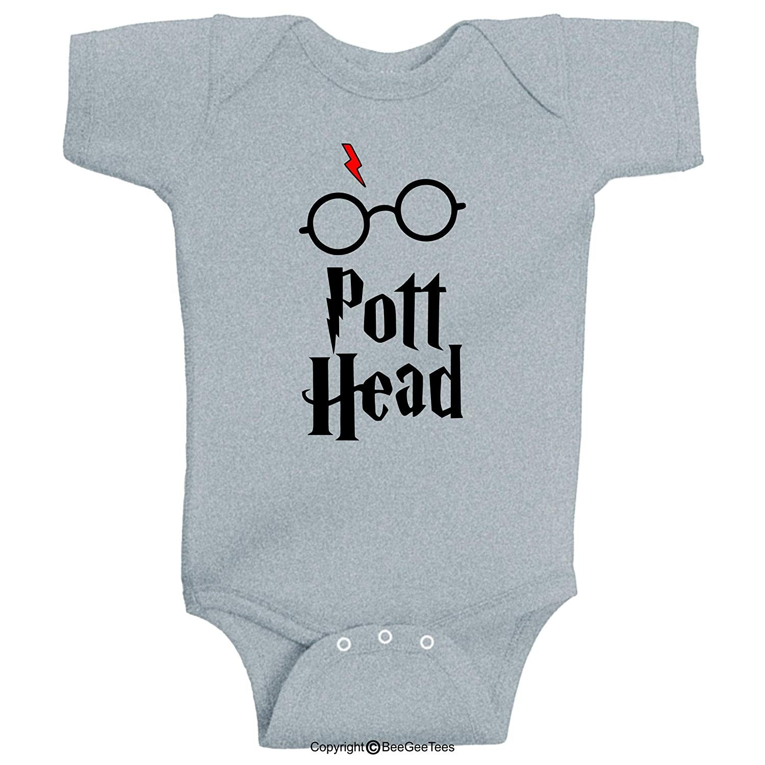 Pott Head Funny Harry Potter Baby Parody Wizard Witch Bodysuit by BeeGeeTees
