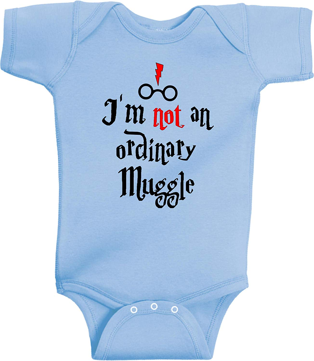 I'm Not An Ordinary Muggle Funny Harry Potter Romper Wizard Onesie by BeeGeeTees® (6 Months, Light Blue)