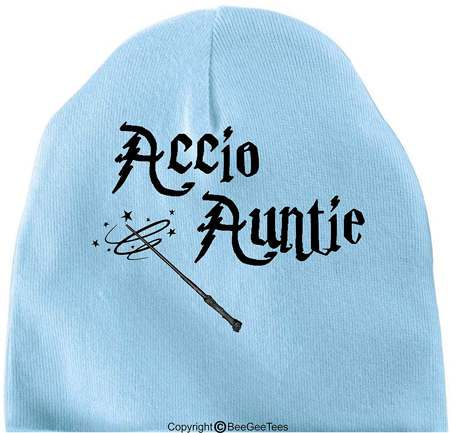 BeeGeeTees Accio Auntie Funny Harry Potter Inspired Hogwarts Baby Wizard Cap by