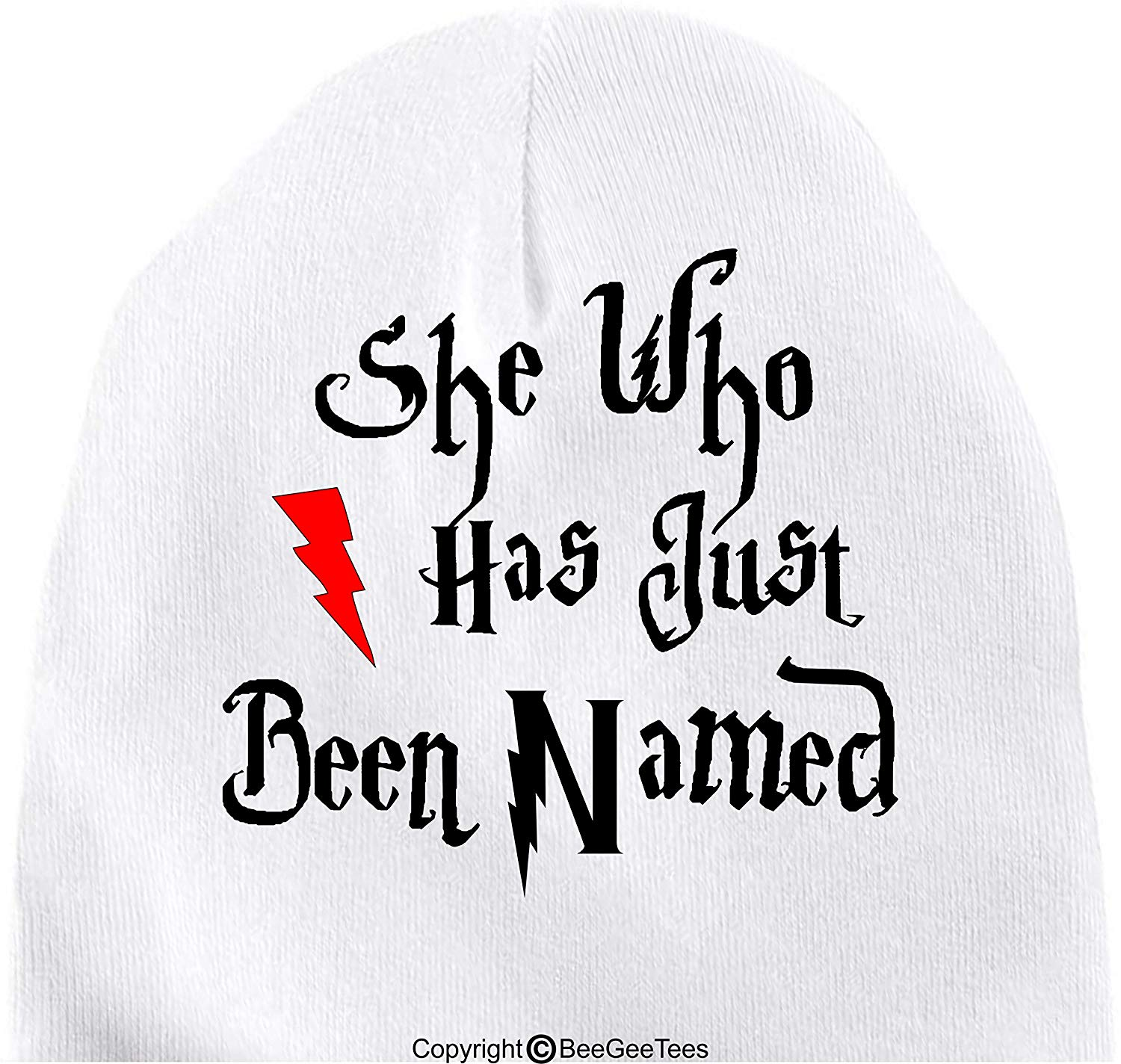 BeeGeeTees She Who Has Just Been Named Funny Harry Potter Inspired Baby Wizard Cap