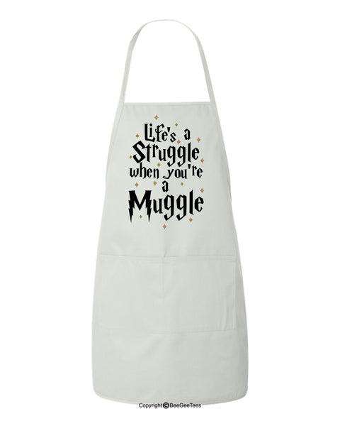Life's A Struggle When You Are A Muggle Funny Harry Potter Inspired Wizard or Witch BBQ Apron by BeeGeeTees