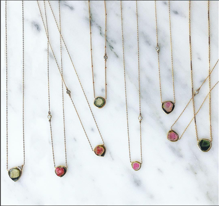 Camille Jewelry Blog post- The magic behind tourmaline. Genuine faceted tourmaline stones in a range of colors, pink, green, black. Delicate handmade pendants in gold filled chain with cubic zirconia detailing. Crafted by local NYC artisans. Free shipping