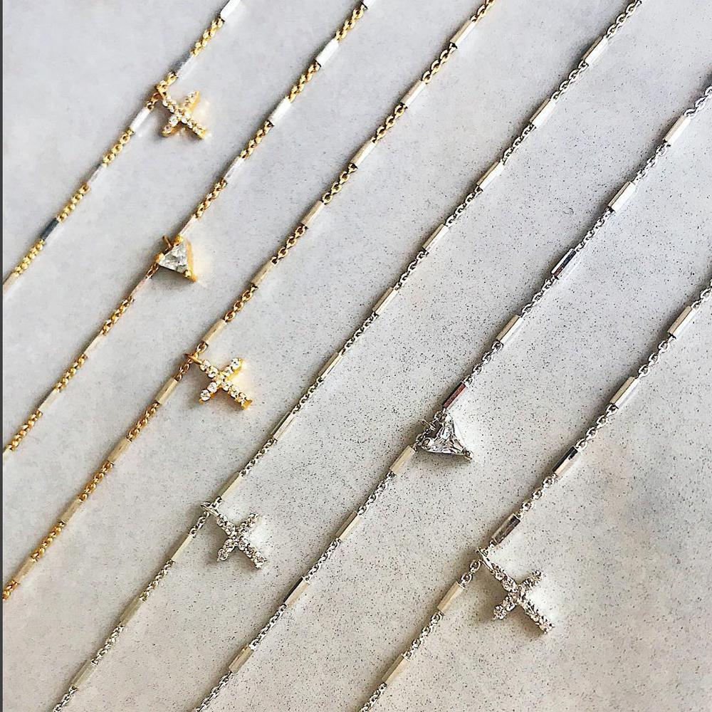 Camille Jewelry- Say a little prayer collection in sterling silver and gold plate. Pave mini charms in trillion and cross. Perfect for gift giving. Free shipping, USA