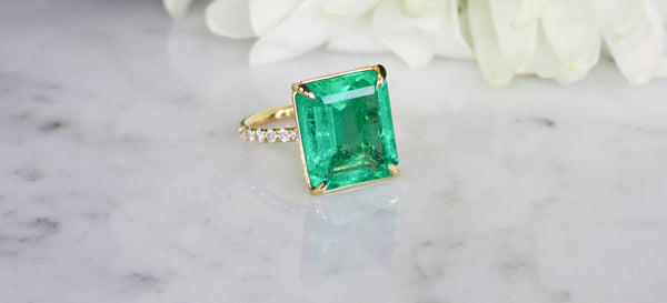 Custom emerald and diamond ring at Camille Jewelry
