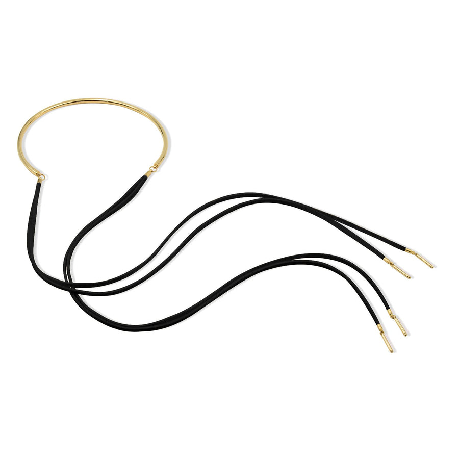 Camille Jewelry Anuket Collection black suede gold plated necklace. Free shipping. Made in NYC, USA.