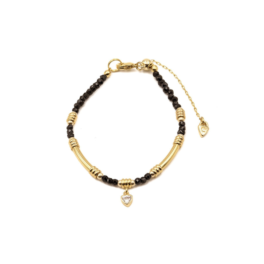 Gold plated black spinel beaded bracelet with charm from Camille Jewelry.