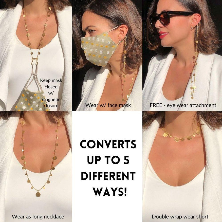 Convertible Disk Charm Chain Necklace For Face Masks & Eyewear