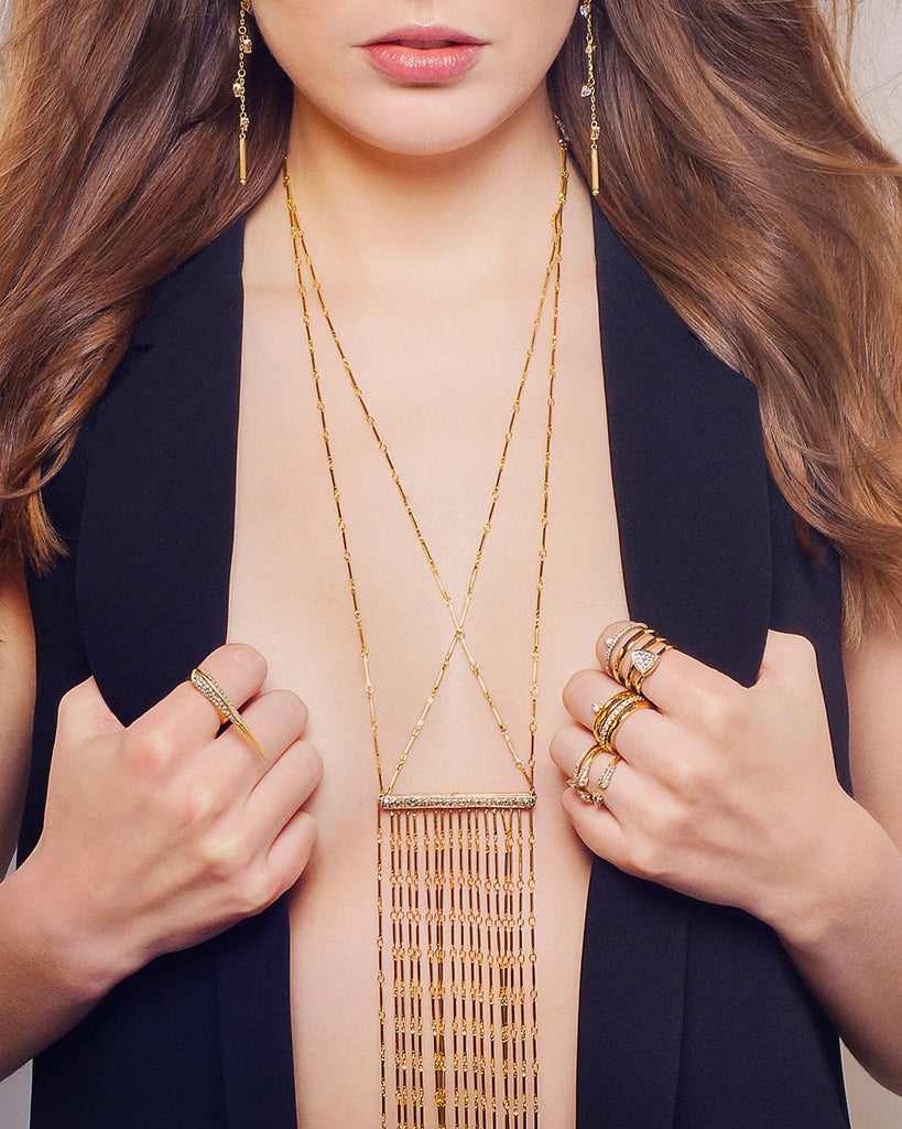 Camille Jewelry- Anuket Collection gold plated fringe necklace with pave bar. Free shipping. Made in NYC, USA