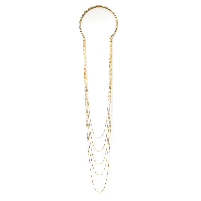 Camille Jewelry, Anuket collection- 5 strand gold plated chain necklace. Free Shipping, USA