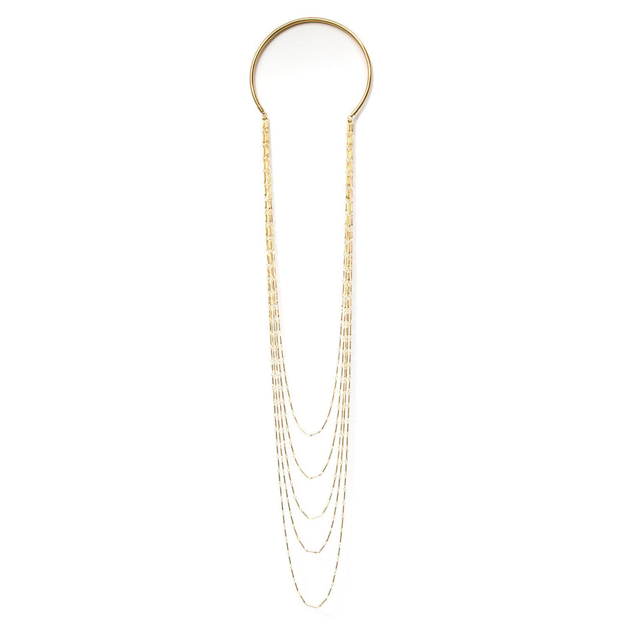 5 strand gold plated chain necklace with collar. Shop Camille Jewelry. Free Shipping, USA