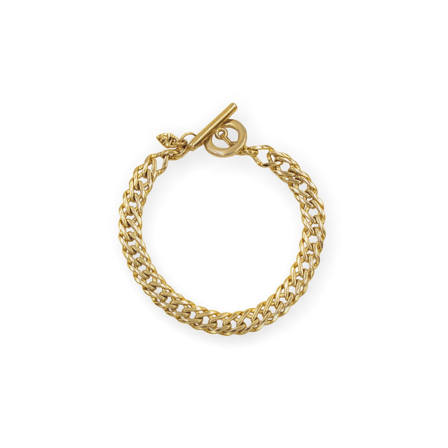Ares collection- Flat weave link gold chain bracelet. Toggle bar closure | Camille Jewelry