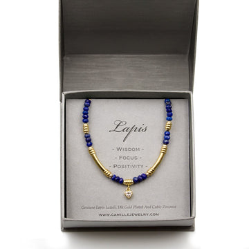 Genuine lapis faceted beaded bracelet with gold plated tubing style from Camille Jewelry
