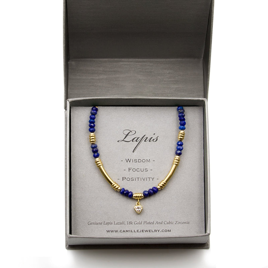Camille Jewelry - Woman gift ideas-  Adjustable gold plated genuine lapis rondell stones. Made in USA,  Free Shipping