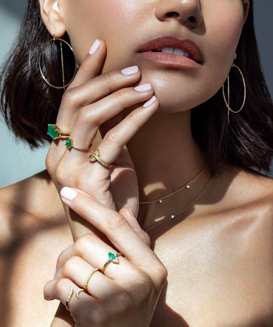 Fine Jewelry mix of rings, bracelets, necklaces and earrings at Camille Jewelry