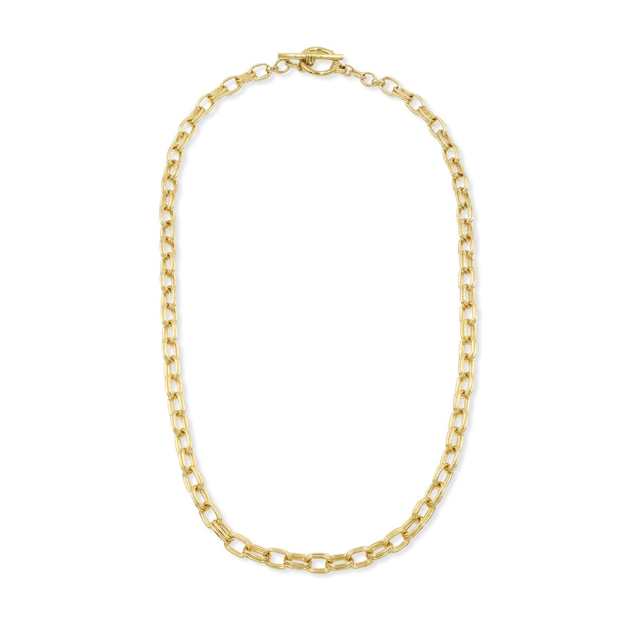 Double linked chain necklace with toggle bar closure from our Ares Collection at Camille Jewelry