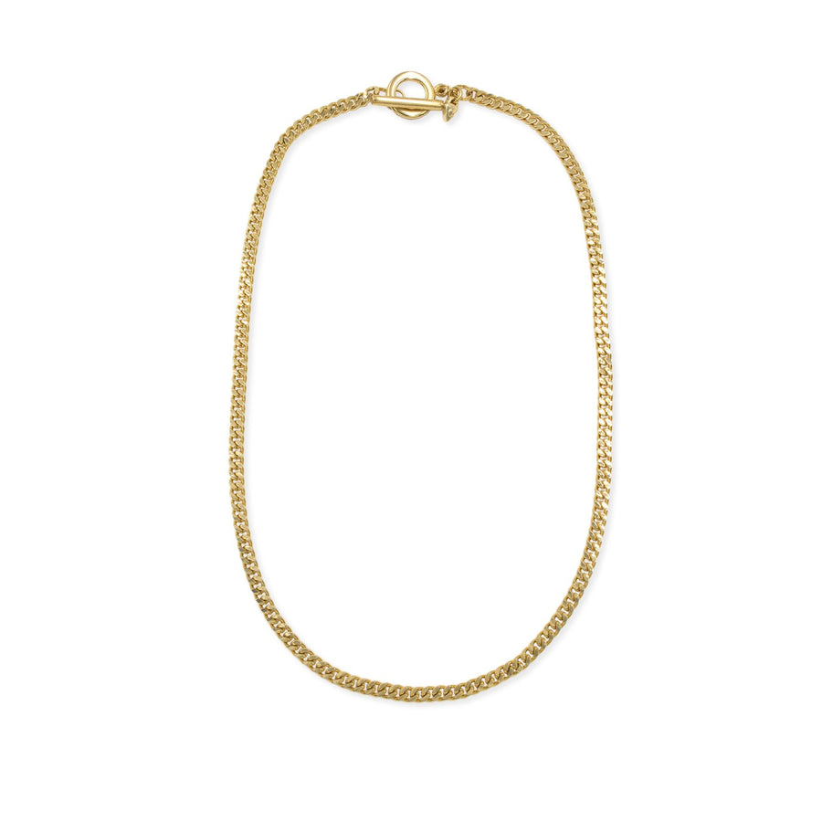 Flat curb gold link chain necklace from our Ares Collection | Shop Camille Jewelry