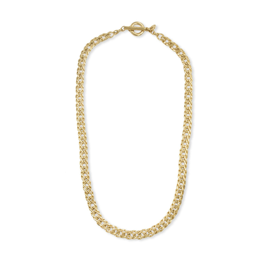 Flat weave link gold chain necklace from the Ares Collection | Camille Jewelry.
