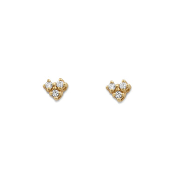 Camille Jewelry - Small three diamond stud earrings in 14K yellow gold.