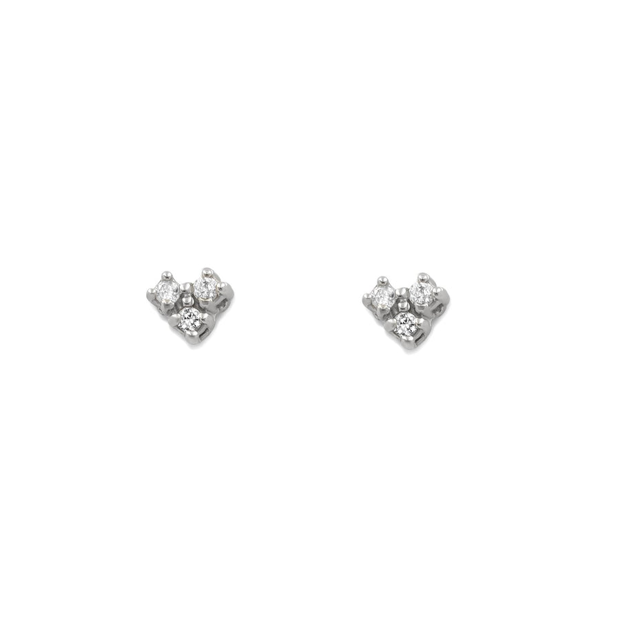 Camille Jewelry - Small three diamond stud earring in white gold. Free shipping within USA