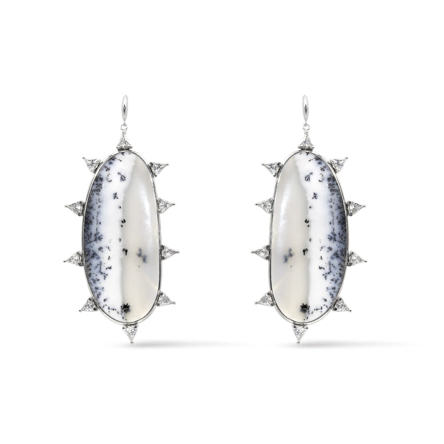 Handmade Dentritic opal earrings in sterling silver with trillion details from Camille Jewelry.