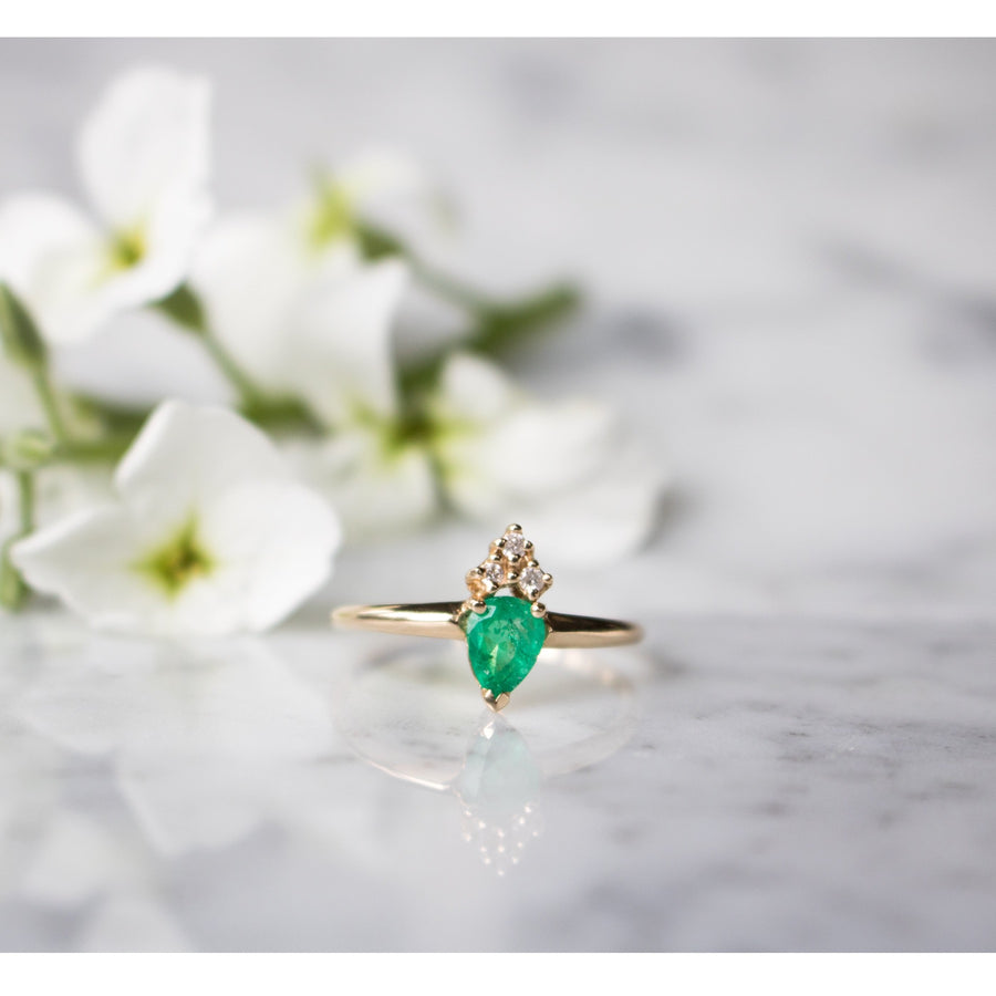 Emerald pear shaped ring | Discover Camille Jewelry Fine Jewelry