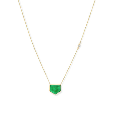 Unique shape emerald green necklace on 14K yellow gold with diamond accent | Camille Jewelry