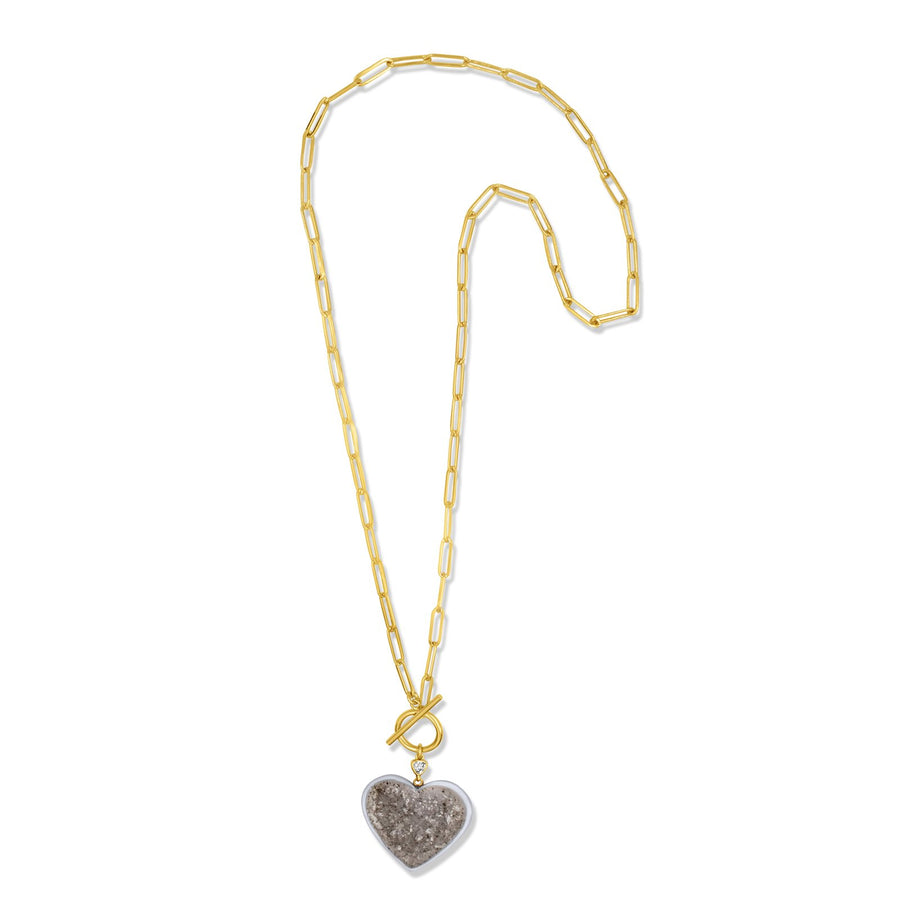 Long druzy quartz heart pendant on 14k gold filled chain | Camille Jewelry