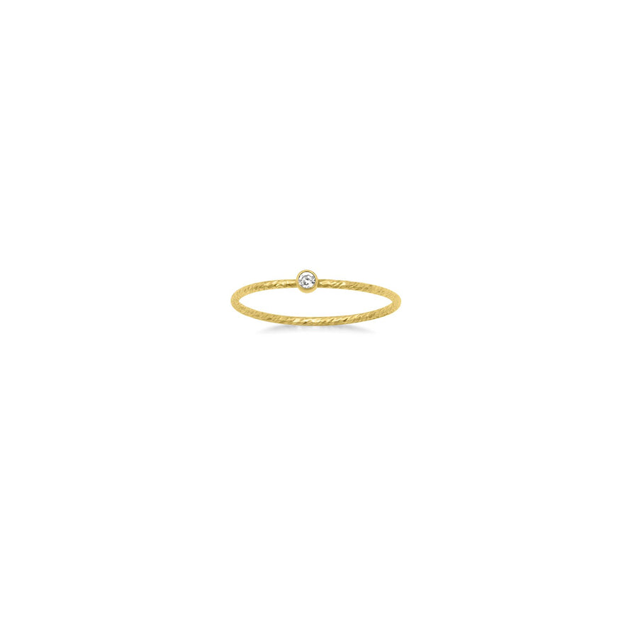 Delicate stack ring with texture made in gold filled with bezel set cubic zirconia | Camille Jewelry