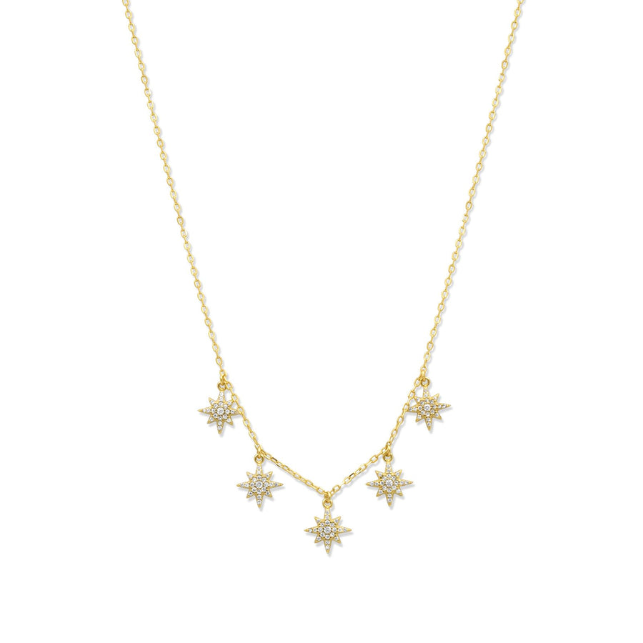 Gold vermeil star charm necklace on delicate chain | Camille Jewelry