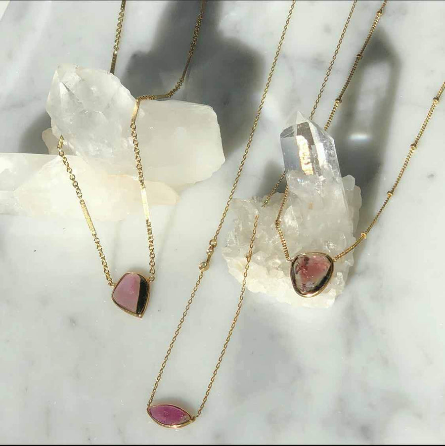 Camille Jewelry - Pink tourmaline gold filled pendants
