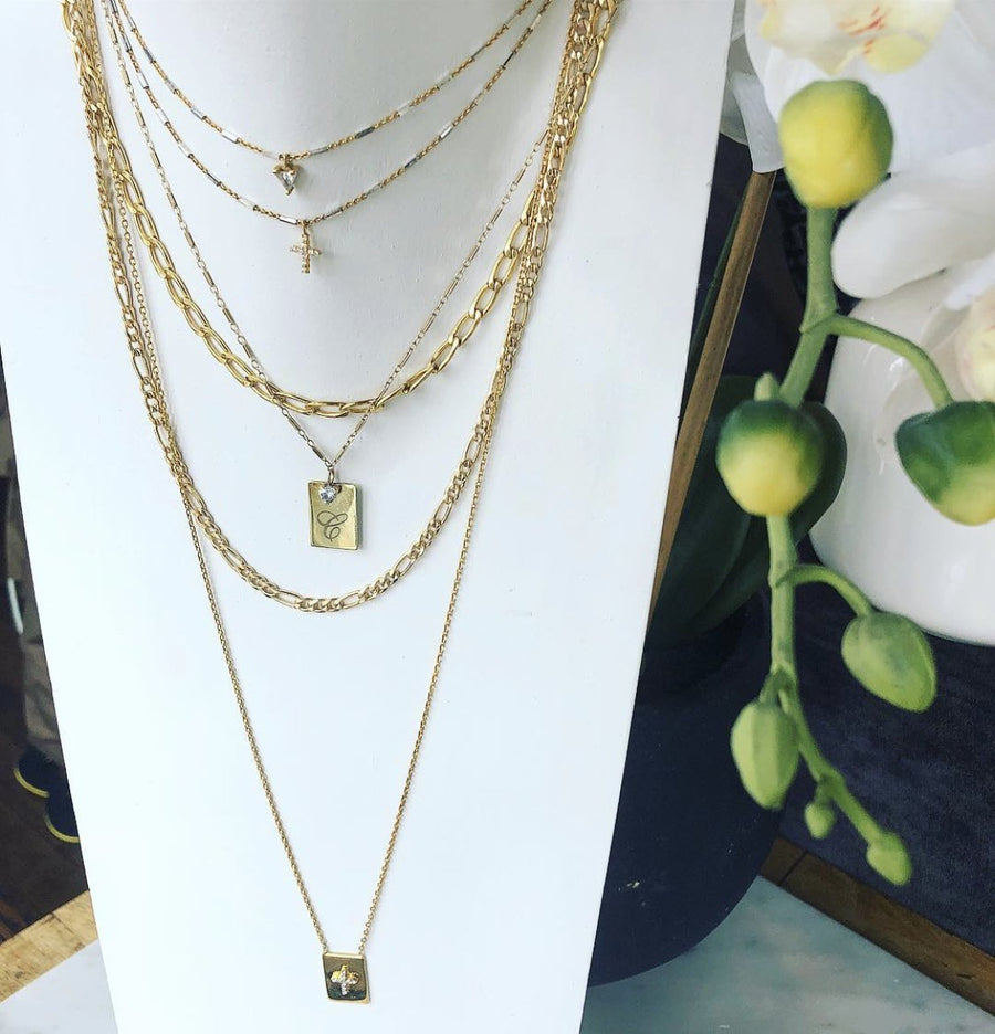 Pave cross scapular necklace in vermeil and sterling silver at Camille Jewelry
