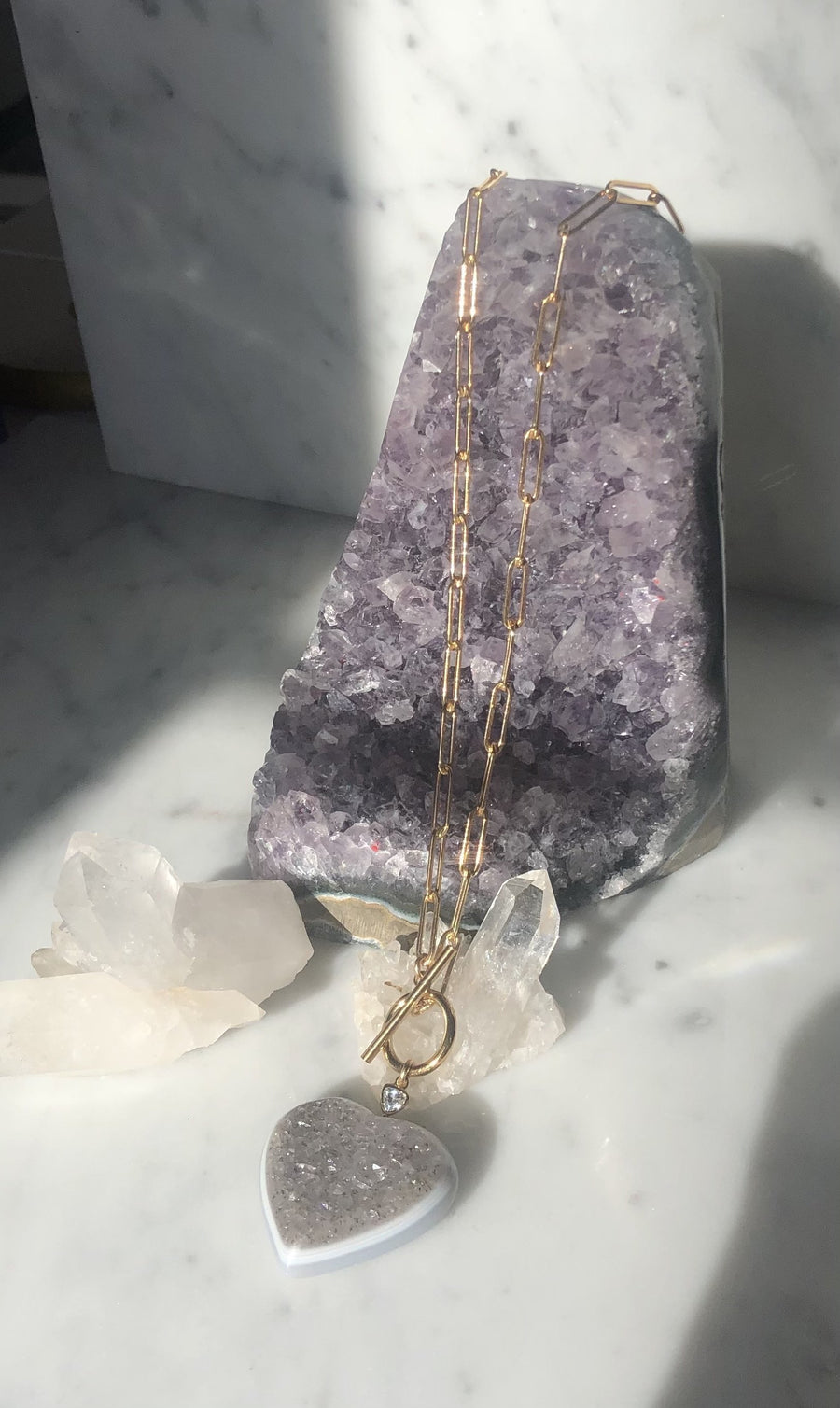 Gold filled paperclip chain with druzy heart pendant with toggle closure | Camille Jewelry
