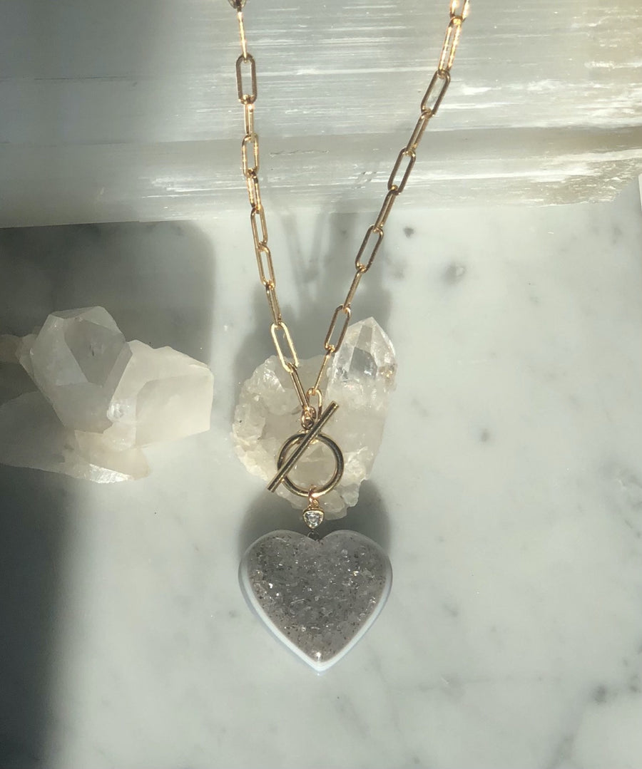 Camille Jewelry -  Heart quartz druzy pendant on 14 K Gold filled chain with toggle front closure