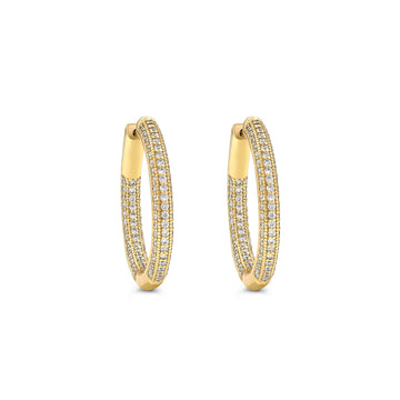 Small gold plated pave hinged hoop earrings set cubic zirconia from Camille Jewelry.