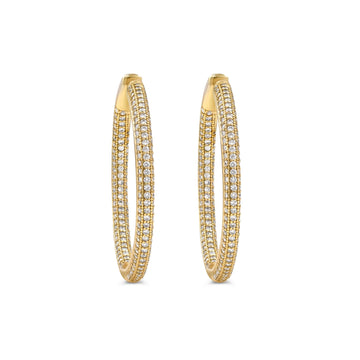 Medium gold plated sterling silver pave hinged hoop earrings from Camille Jewelry