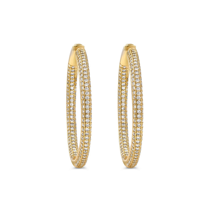 Camille Jewelry - Medium gold plated sterling silver pave hinged hoop earrings. Free Shipping