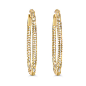 Shop large gold plated pave hinged sterling silver hoops from Camille Jewelry